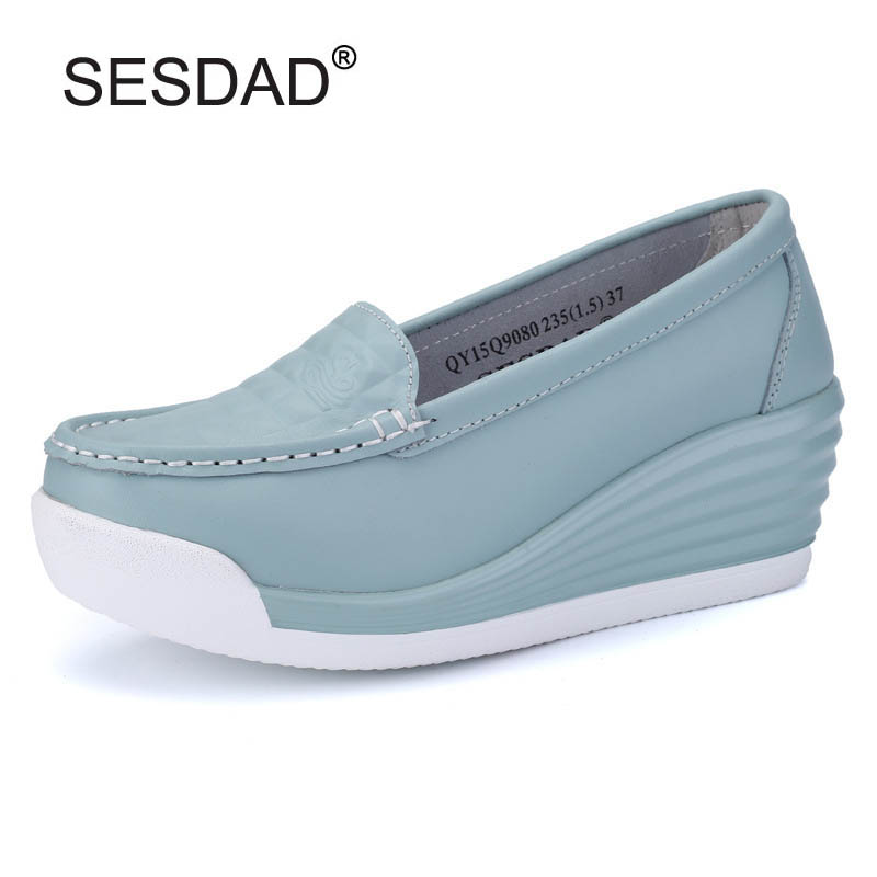 Women Genuine Leather Platform Wedges Shoes Ladies Shallow Mouth Slip-on High Heels Wedge Shoes Fashion Cow Leather Mother Shoes de la chance women fashion platform shoes genuine leather slip on casual shoes loafers flatform wedge shoes skate ladies shoes