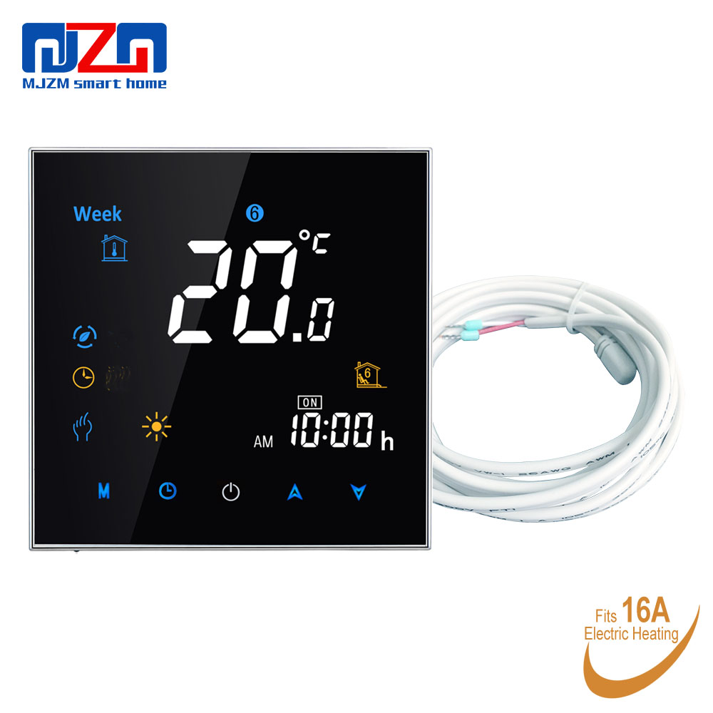 MJZM 16A 3000 Electric Floor Heating Thermostat Black Digital Thermostat Programmable Color Screen Room Temperature Regulator