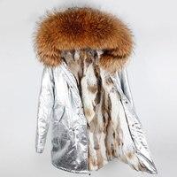Real Raccoon Fur Collar Brand 2019 New Long Sliver PU Winter Jacket Women Coat Parka Natural Rabbit Fur Coat Thick Warm Parkas