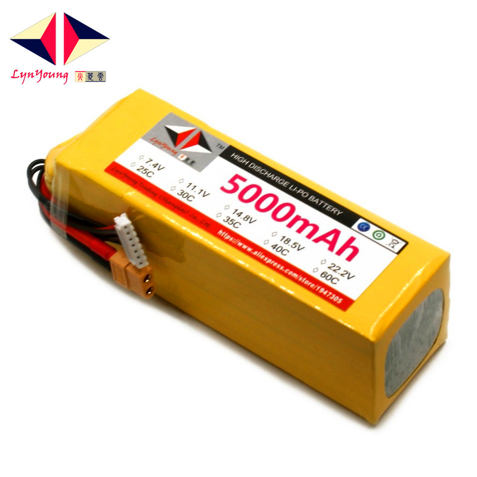 LYNYOUNG <font><b>6S</b></font> <font><b>LiPo</b></font> battery 22.2V <font><b>5000mAh</b></font> 25C For RC quadcopter Drone Car toy helicopter parts image