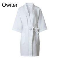 Ladies Womens Waffle Bath Robe 100 Cotton Dressing Gown Comfortable Nightwear Terry Robe Hotel Robe