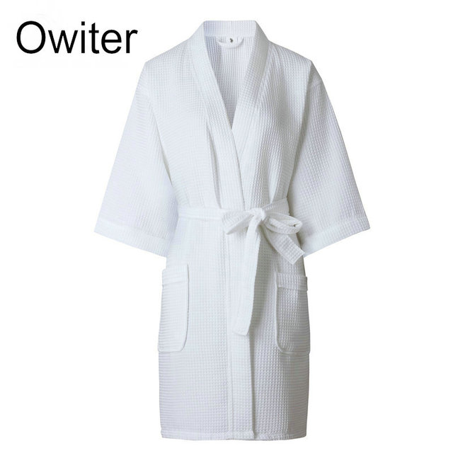 Ladies Womens Waffle Bath Robe 100% Cotton Dressing gown Comfortable  Nightwear Terry Robe hotel robe 9c59232c7