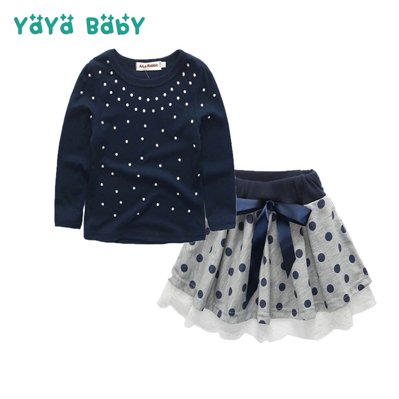 3 4 5 6 7 8 9 Year Girls Clothes 2018 New Spring Autumn Fashion Children Clothing Set Long Sleeve Shirts Dot Skirts Kids Suits
