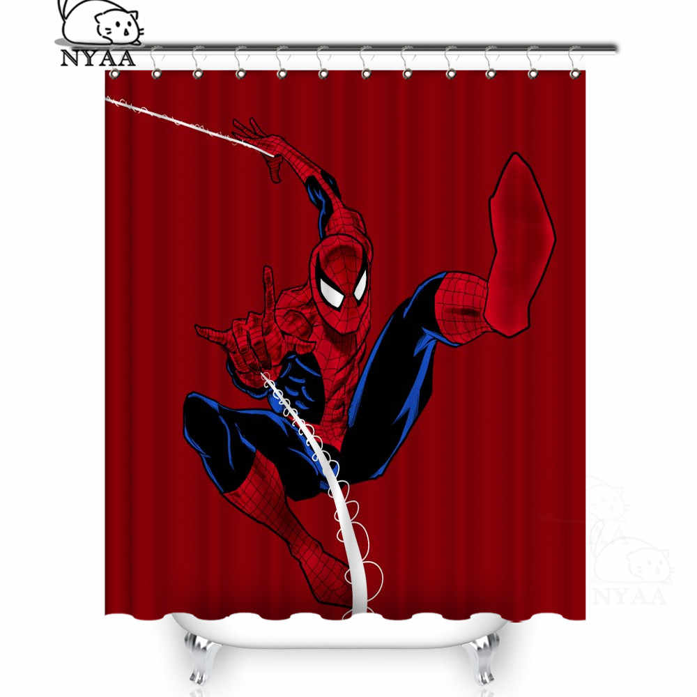 NYAA  Marvel Spiderman Shower Curtains Polyester Fabric Curtains For Home Decor