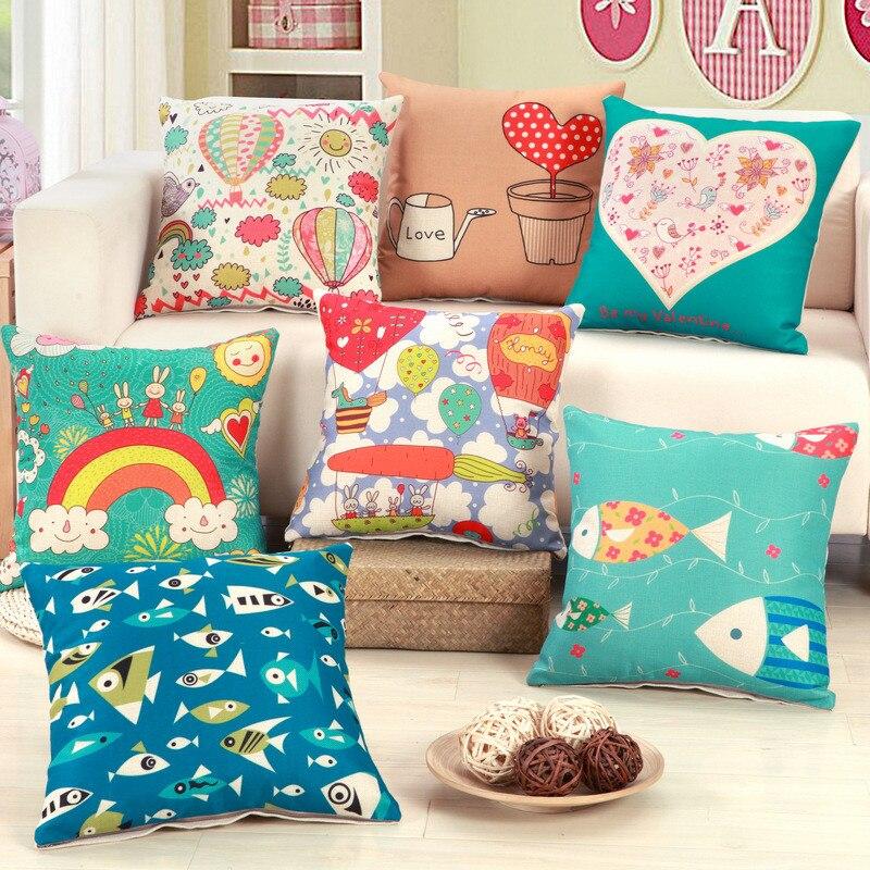 45x45cm Cartoon Animal Fish Pattern Car Home Sofa Seat Chair Cushion Cover Cotton Linen Throw Pillowcase Children Room Decor