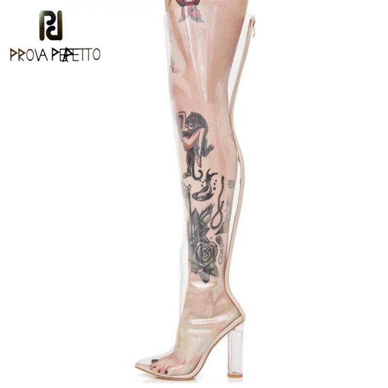 Prova Perfetto New Sexy Pvc Clear Rain Boots Pointed Toe Crystal High Heels Over The Knee