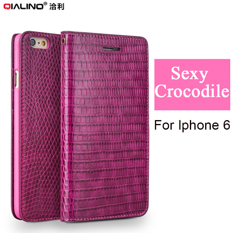 bilder für Qialino Pink lady handmade Krokodil leder flip Fall für iPhone 6/6 s 4,7 zoll