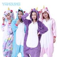 2018 Unicornio Warm Casual Party Wear Cartoon Unicorns Unisex Adult Pajamas Animal Cosplay Sleepwear Couples Home