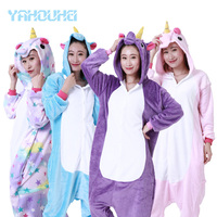 2017 Winter Warm Casual Party Wear Cartoon Unicorns Unisex Adult Pajamas Yahouhei Animal Cosplay Sleepwear Couples