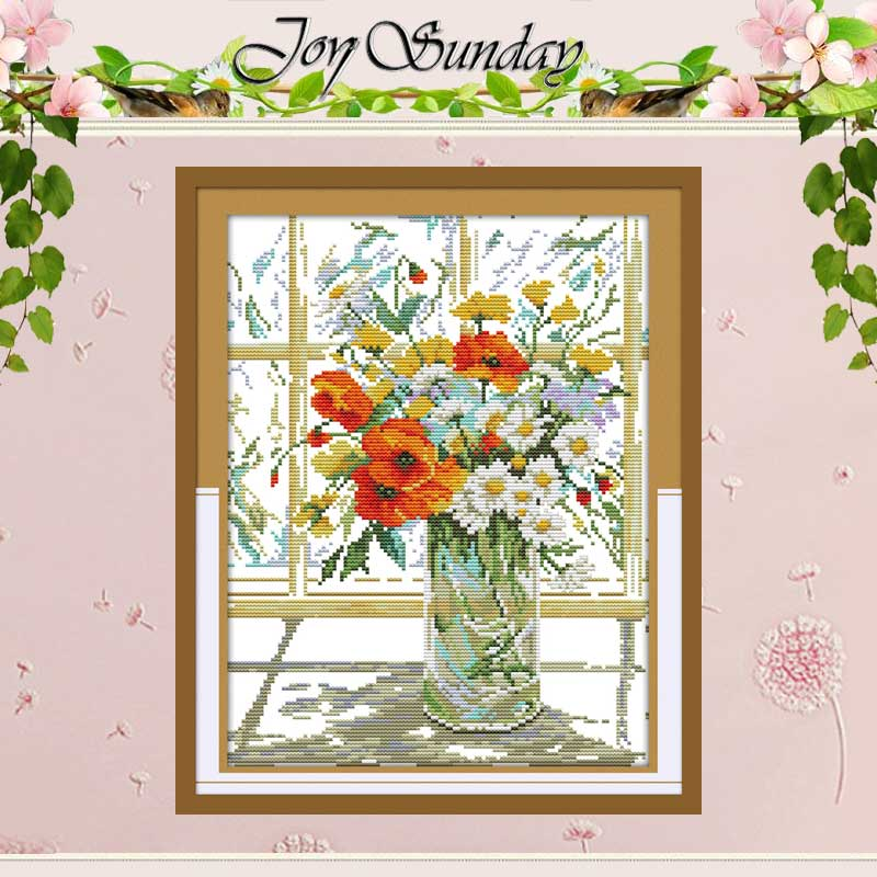 Blomma Vase på Windowsill Mönster räknade 11CT Printed 14CT Cross Stitch Kinesiska Cross Stitch Kit Hot Broderi Needlework