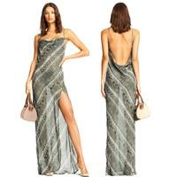 Sexy Party Clubwear Women Chiffon Spaghetti Strap Dress Snake Skin Print See Through Split Backless Dresses Sexy Maxi Long Dress