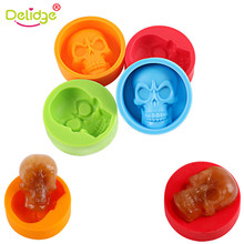 Delidge 1 pc Skull Head Ice Mold Silicone Whiskey Cocktail Ice Ball Maker Skull Shape Ice Cubes Bar Drinking Ice Mold