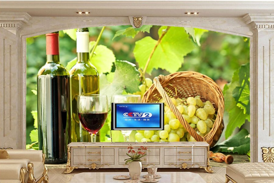 Custom 3d murals,wine Grapes Bottle Stemware Food wallpapers,living room sofa TV wall bedroom restaurant kitchen wallpaper wooden cork wine grapes bunch ornament burgundy c8558 a kurt adler