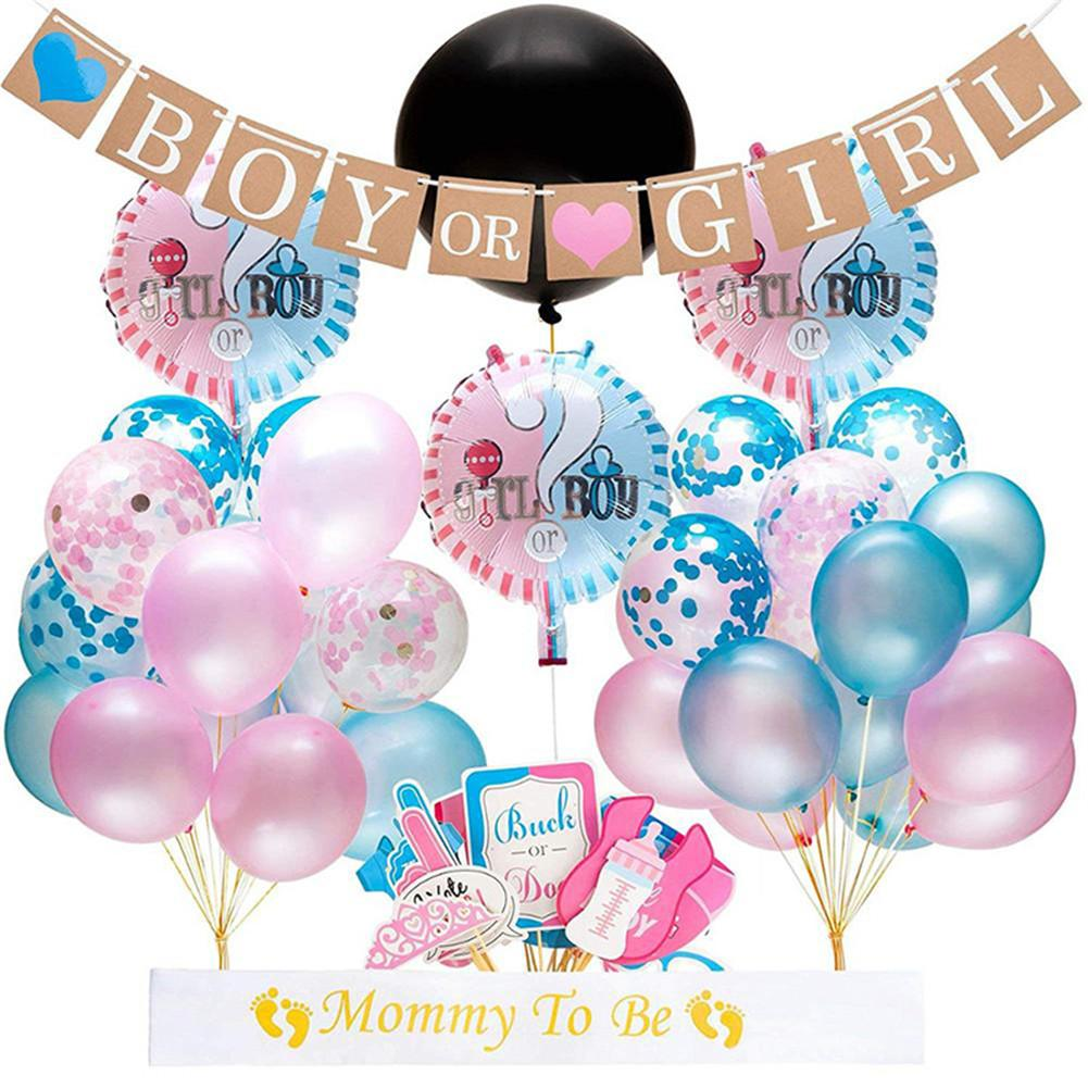 64pcs Sex Revealing Party Decorative Balloons Photo Props Balloon Pull Flag Paper Gender Reveal Party Scene Decorations image