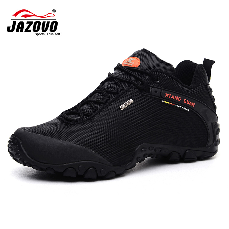 JAZOVO 2017 Man Waterproof Breathable Hiking <font><b>Shoes</b></font> Big Size Outdoor Boots Black Trekking Sport Sneakers <font><b>Men</b></font> summer footwea <font><b>Shoes</b></font>