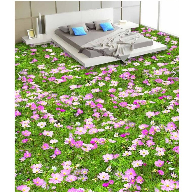Beibehang 3d Stereoscopic Flowers Flooring Adhesive Stickers Bathroom Waterproof Non-slip Floor Restaurant Decorative Painting