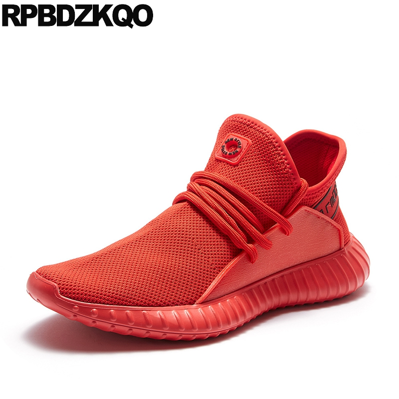 Runway Sneakers High Top Booties Ankle Wedge Outdoor Black Mesh Trainer 2018 Lace Up Designer Shoes Men Quality Fall Boots Red mesh yoke lace applique top