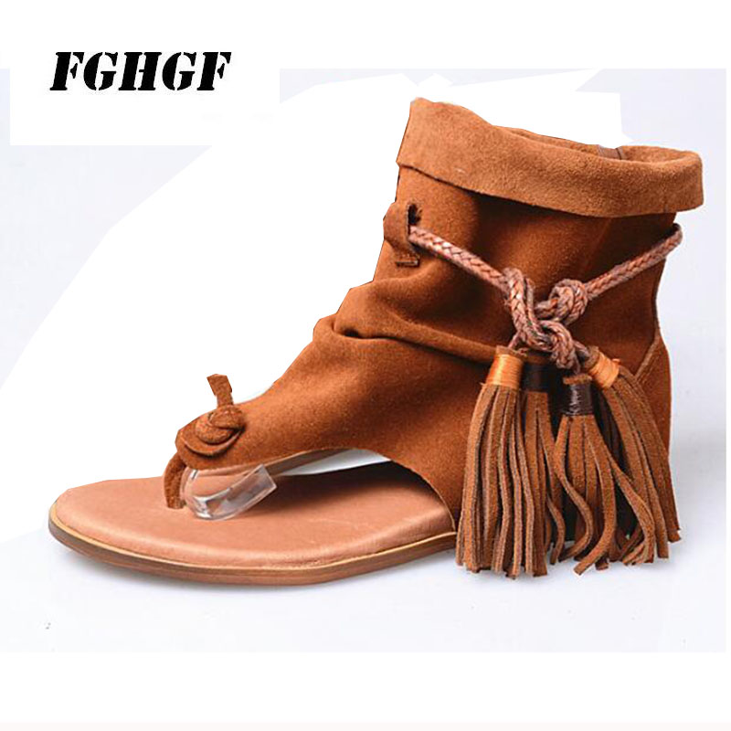 Package mail The new spring and summer Leather sandals with fringe and leg scrubs Casual flats with raised wedges Big yards34-41 trendy women s sandals with solid colour and fringe design