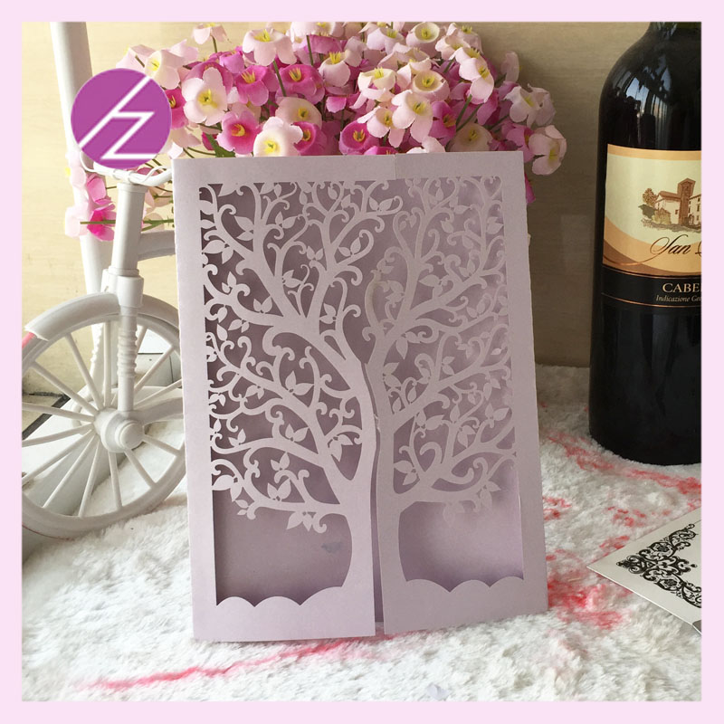 12pcslot hot sale wedding party invitation card 250gsm laser cut 12pcslot hot sale wedding party invitation card 250gsm laser cut shimmer paper carft tree greeting card qj 26 in cards invitations from home garden on stopboris Images