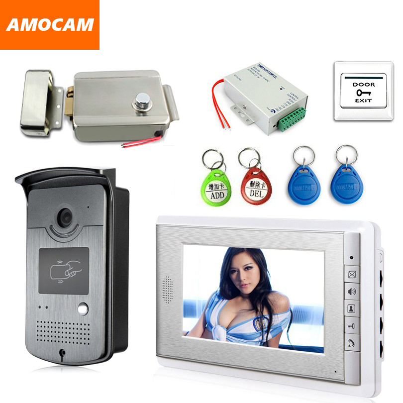 "7"" Screen Video Door Phone  System Video Doorbell Door Intercom Kits With Electric Lock+ Power Supply+ Door Exit + RFID Keyfob"