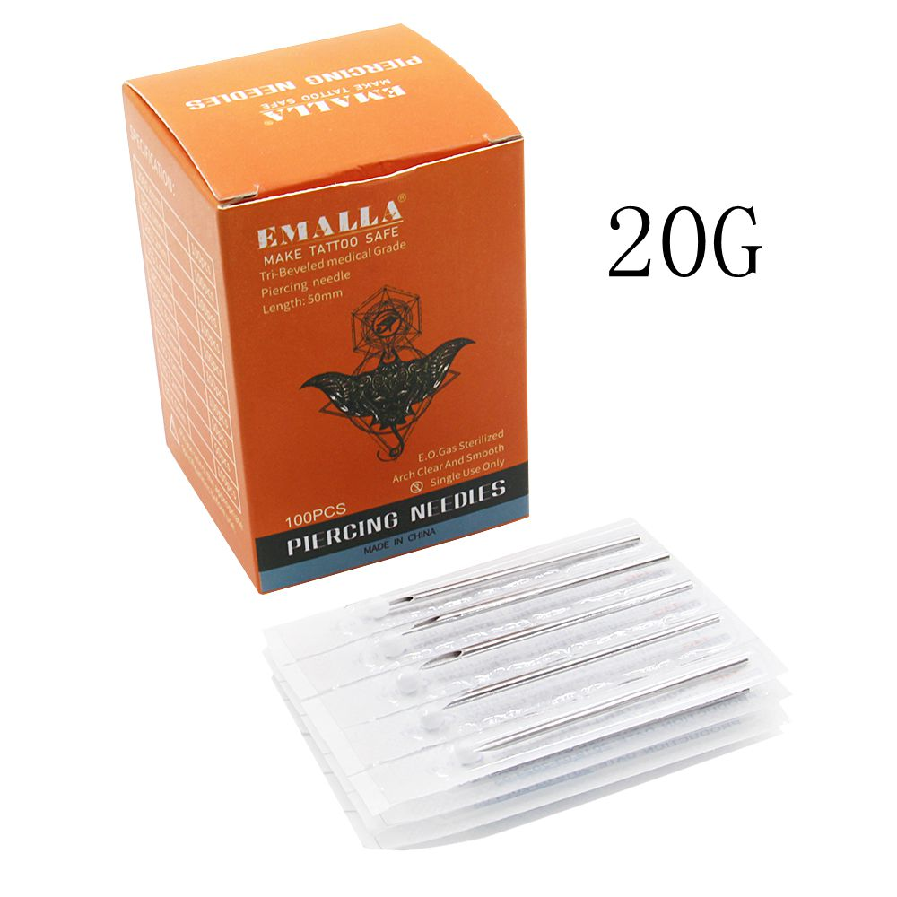 EMALLA  20Gauge 100PC Piercing Needles Sterile Disposable Body Piercing Needles 16G For Ear Nose Navel Nipple Free Shipping
