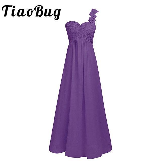 Подружкам невесты одно плечо Коралл кот серый жемчуг розовый лаванда этаж Длина шифон Длинные платья невесты платья Бисер платье