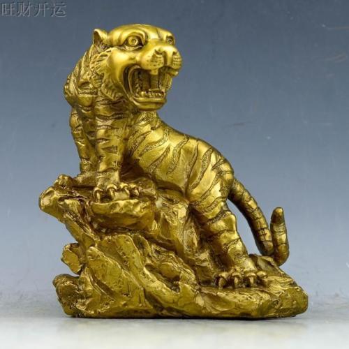 Cinese Antico fatto a mano in ottone statua fengshui fortunato tigreCinese Antico fatto a mano in ottone statua fengshui fortunato tigre