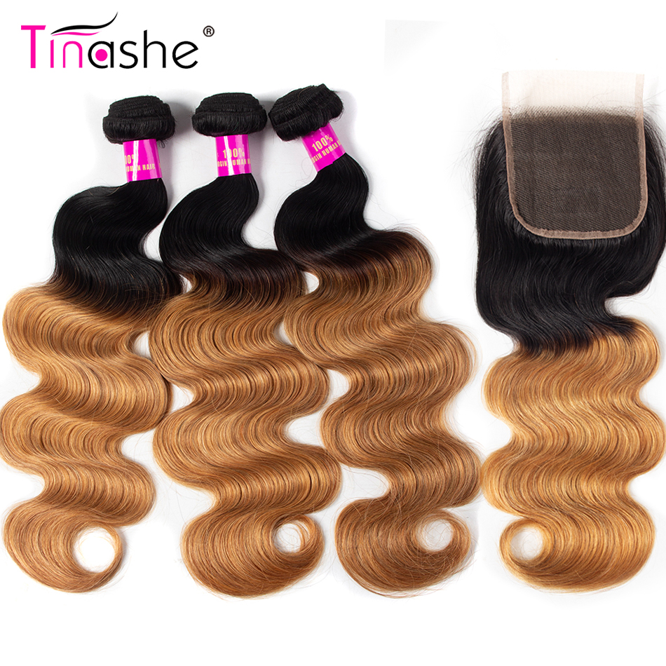 Tinashe Hair Ombre 1B 27 Bundles With Closure Brazilian Remy Human Hair Body Wave Bundles Colored Bundles With Closure