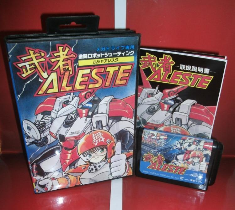 Juegos de Sega tarjeta de Aleste con caja y manual para Sega MegaDrive Consola d