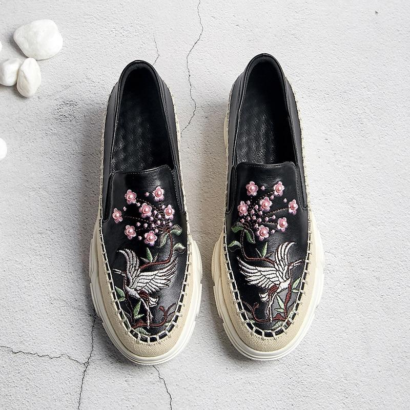 beige Bordado Black Zapatillas Mocasines Cuero Slip Estilo Las Planos Botas Ocio Zapatos Pisos Plataforma on Flores Chino Genuino Mujeres De Deporte HxqRvfCv