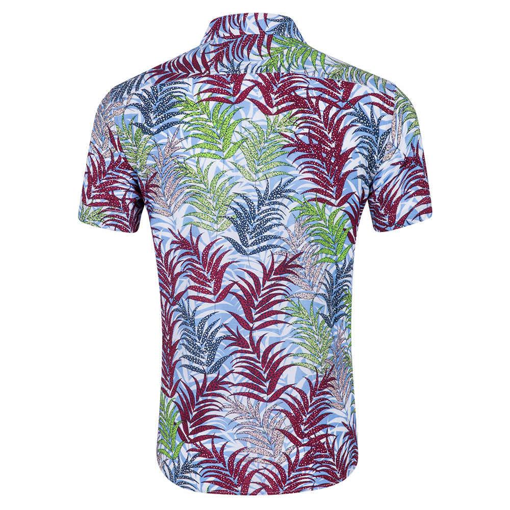 Мужская гавайская рубашка с короткими рукавами 2018 летние новые пляжные вечерние рубашки с цветочным принтом Мужские повседневные рубашки на пуговицах Chemise Homme XXL