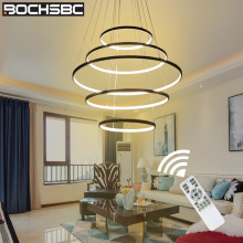 BOCHSBC Modern Rings Circle Pendant Light PVC and Metal Led Hanging Lamp Lighting Fixtures for Dining Room Bedroom Art Deco