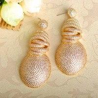 Blucome Luxus Zirkonia Ohrringe Für Frauen Weihnachtsgeschenk Gold Farbe Kupfer Große Brincos Hochzeit Zubehör
