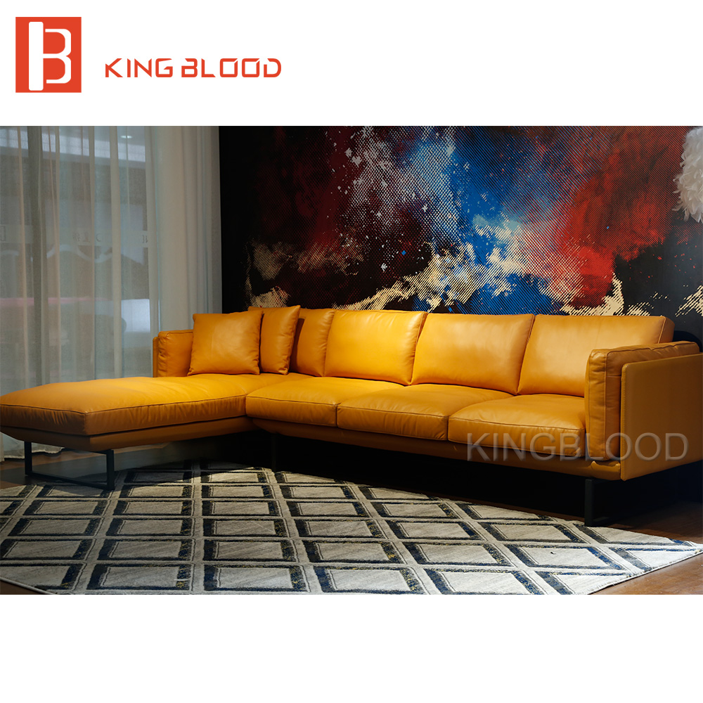 New Italian Modern Sectional Genuine Nappa Soft Leather Sofa Furniture  Yellow And Black 3seater+chaise Sofa