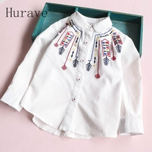 Hurave new arrival girls blouse pattern kids embroidery toddler shirts lace children clothing