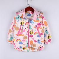 Cartoon Printed Hooded Jackets for Girls Coat Kids Outerwear Baby Jacket Enfant Kids Waterproof Windbreaker Children's Clothing