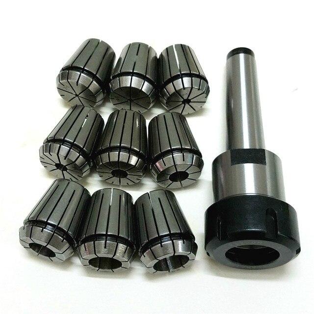 10pcs/set ER32 Collet Chuck Holder MT3 M12 Morse Taper + ER32 Spring Collets ID 2-20mm For Lathe Milling Tools