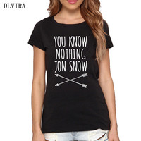 DLVIRA S XXXL Women Fashion Cotton Letter You Know Nothing Print T Shirt