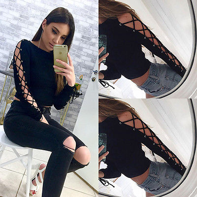 Black T Shirt Women Long Sleeve Cold Shoulder Tops 20176 Autumn Loose Tees Sexy Ladies Round Neck Cut Out Bandage Sleeve T-shirt