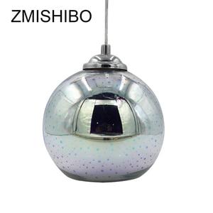 Image 3 - ZMISHIBO ثلاثية الأبعاد الألعاب النارية الزجاج قلادة أضواء LED E27 مصباح معلق عاكس الضوء غرفة المعيشة غرفة الطعام تركيبات إضاءة ديكوريّة منزلية