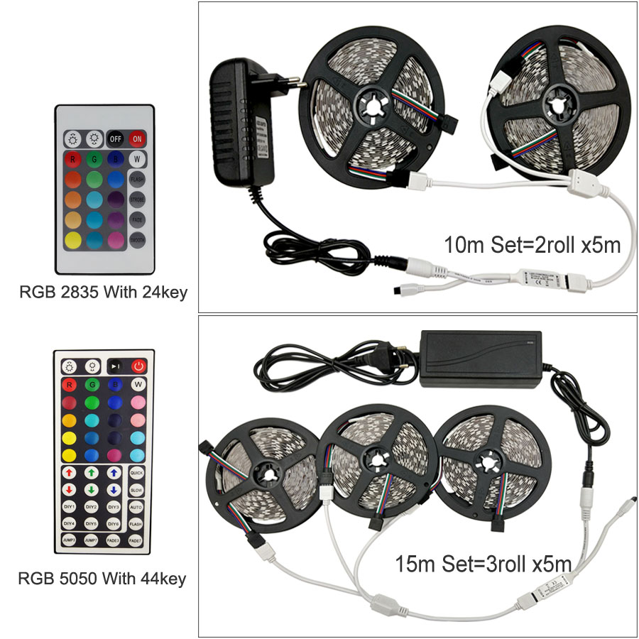HTB1wUMlaE rK1Rjy0Fcq6zEvVXaE LED Strip Light RGB 5050 SMD 2835 Flexible Ribbon fita led light strip RGB 5M 10M 15M Tape Diode DC 12V+ Remote Control +Adapter