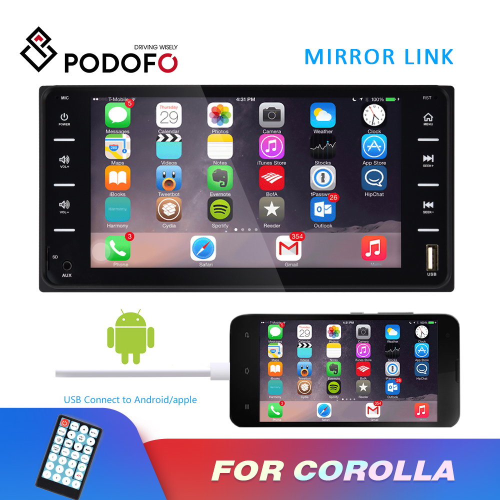 Podofo Autoradio 7'' Touch Screen Multimedia Player <font><b>2</b></font> <font><b>Din</b></font> Car Radio MP5 Player For Toyota Corolla Bluetooth Mirror Link FM Radio image
