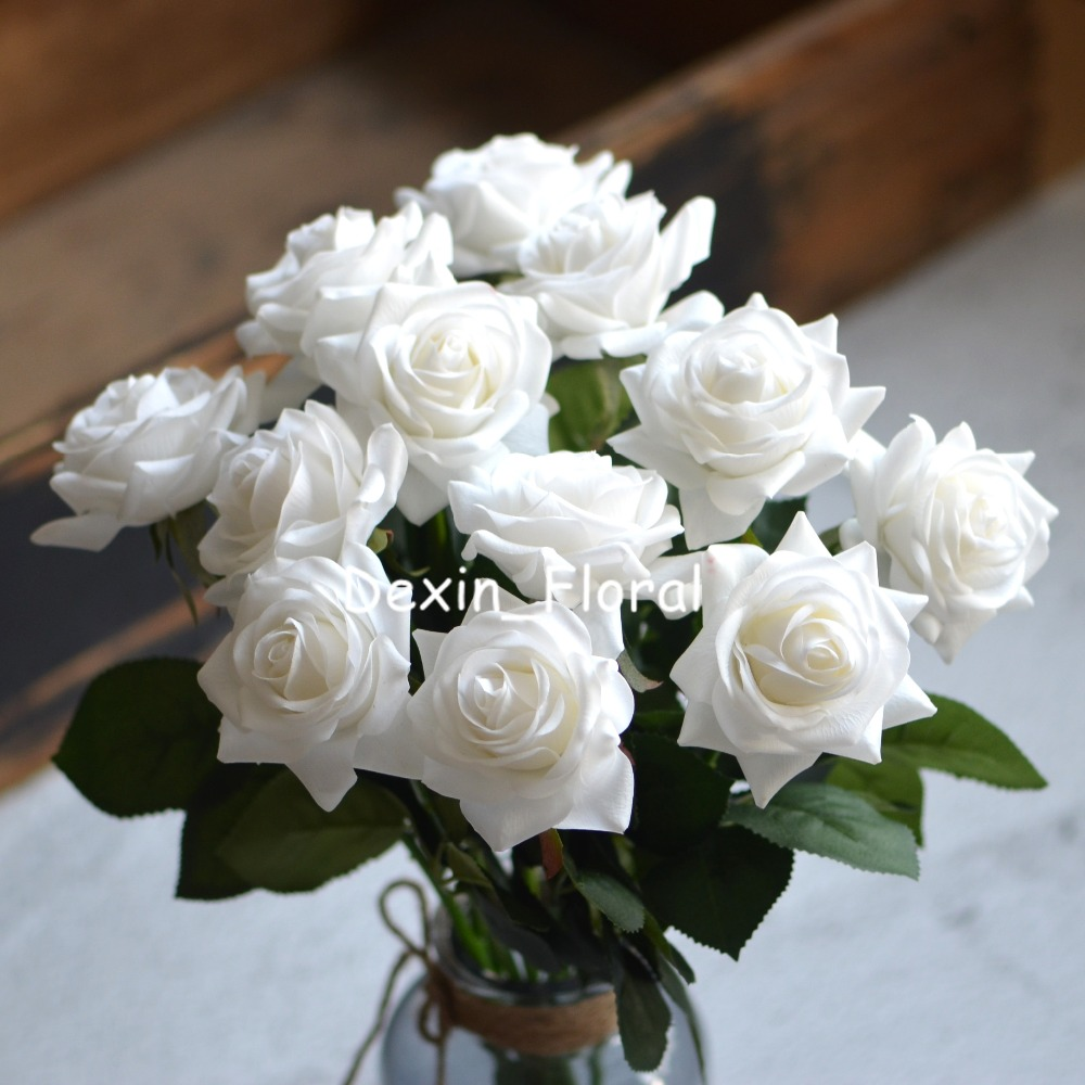 White rose Real Touch Silk Roses DIY Silk Bridal Bouquets Wedding ...