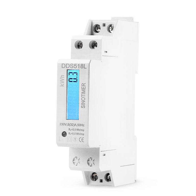 Single Phase Two Wire LCD Backlit Wattmeter Power Consumption Watt Energy Meter kWh AC 5-32A 230V 50Hz Electric Din Rail Mount