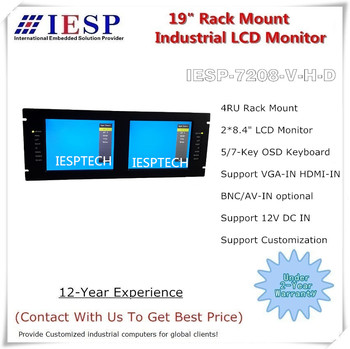 4U Rack Mount Industrial Monitor, 2 * 8.4-inch TFT LCD, Support Deep Dimmming, HDMI, VGA, DVI Display Input, OEM/ODM