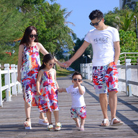 2018 Summer Matching Clothes Dad Son T Shirt+Pants Mom Girls Print Sleeveless Cotton Dress Family Matching Outfits Beach Clothes