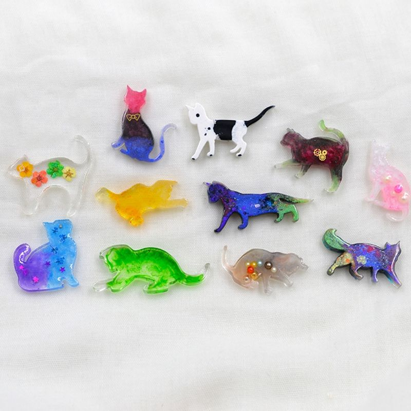 7 Pcs/set Small Animal Cat Modeling Epoxy Mold DIY Manual Mold UV Crystal Clay AB Silicone Mould