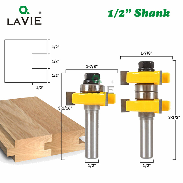 Juego de brocas para enrutador de lengüeta y ranura de vástago de 12mm y 1/2 pulgadas, fresa de 1 a 1/2 pulgadas para herramientas de carpintería de madera, broca 03074, 2 uds.