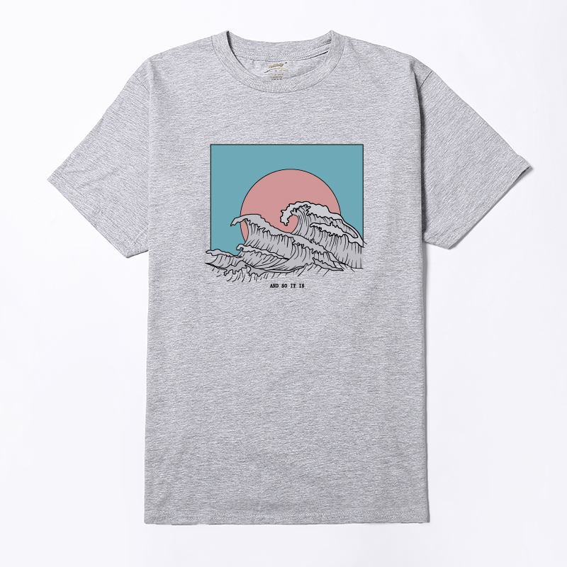 e3d61e441a7d 2018 Aesthetic Vintage Waves Printed White Women T shirt Summer Short  Sleeved Cotton O Neck Graphic Tops Girl Kawaii Tee Tumblr