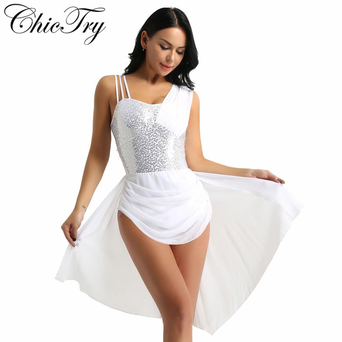 Women Adults Girls Ballet Dancewear Spaghetti Straps Sleeveless Sequins Irregular Chiffon Ballet Dance Gymnastics Leotard Dress